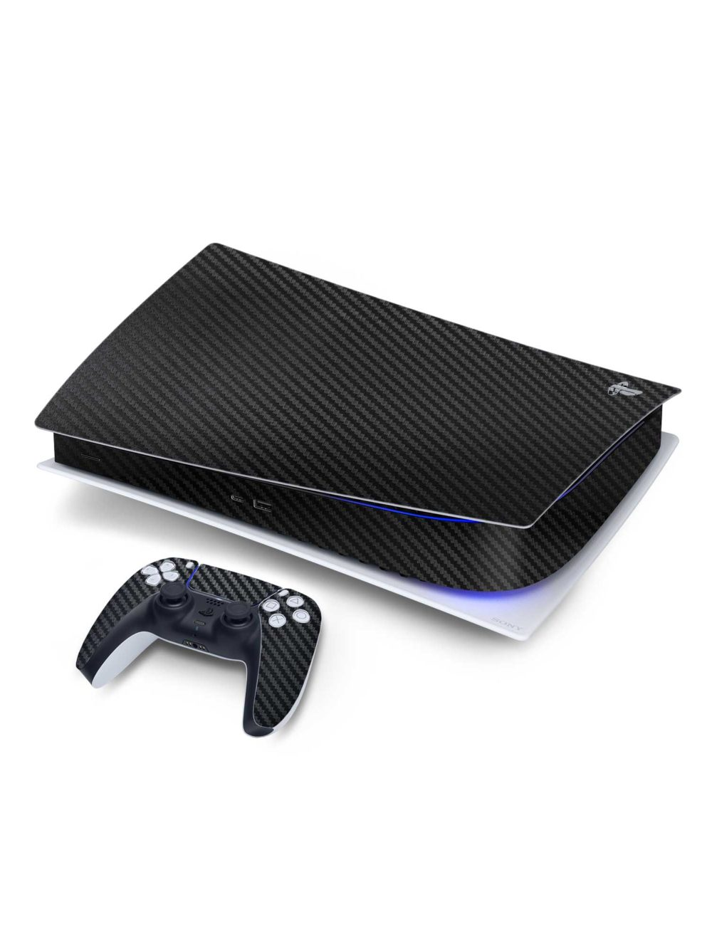 Textured 3D Black Carbon Fibre Sony PS5 Digital Edition Vinyl Skin Wrap