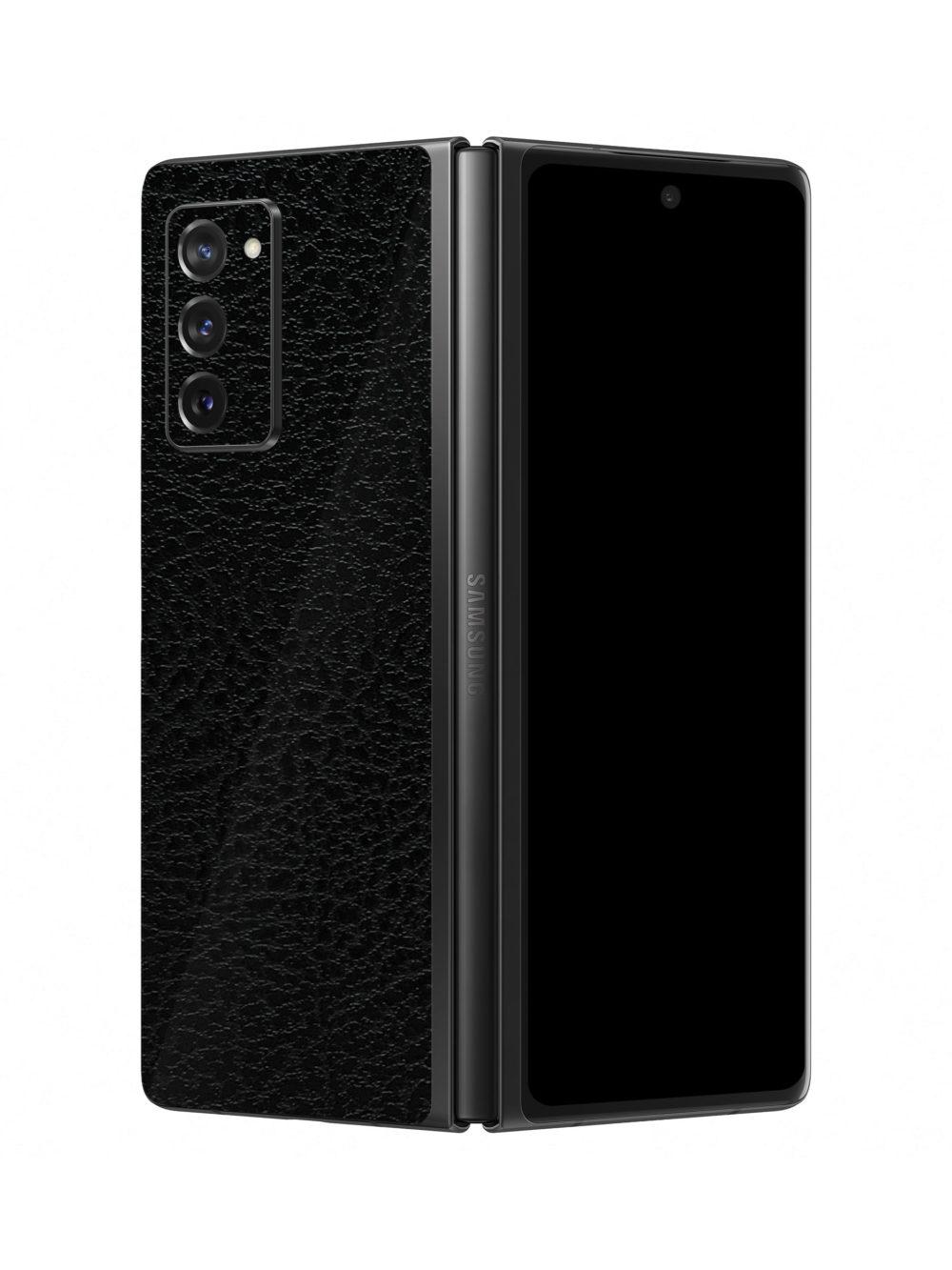 3M Textured Black Leather Skin For Samsung Galaxy Z Fold2 5G