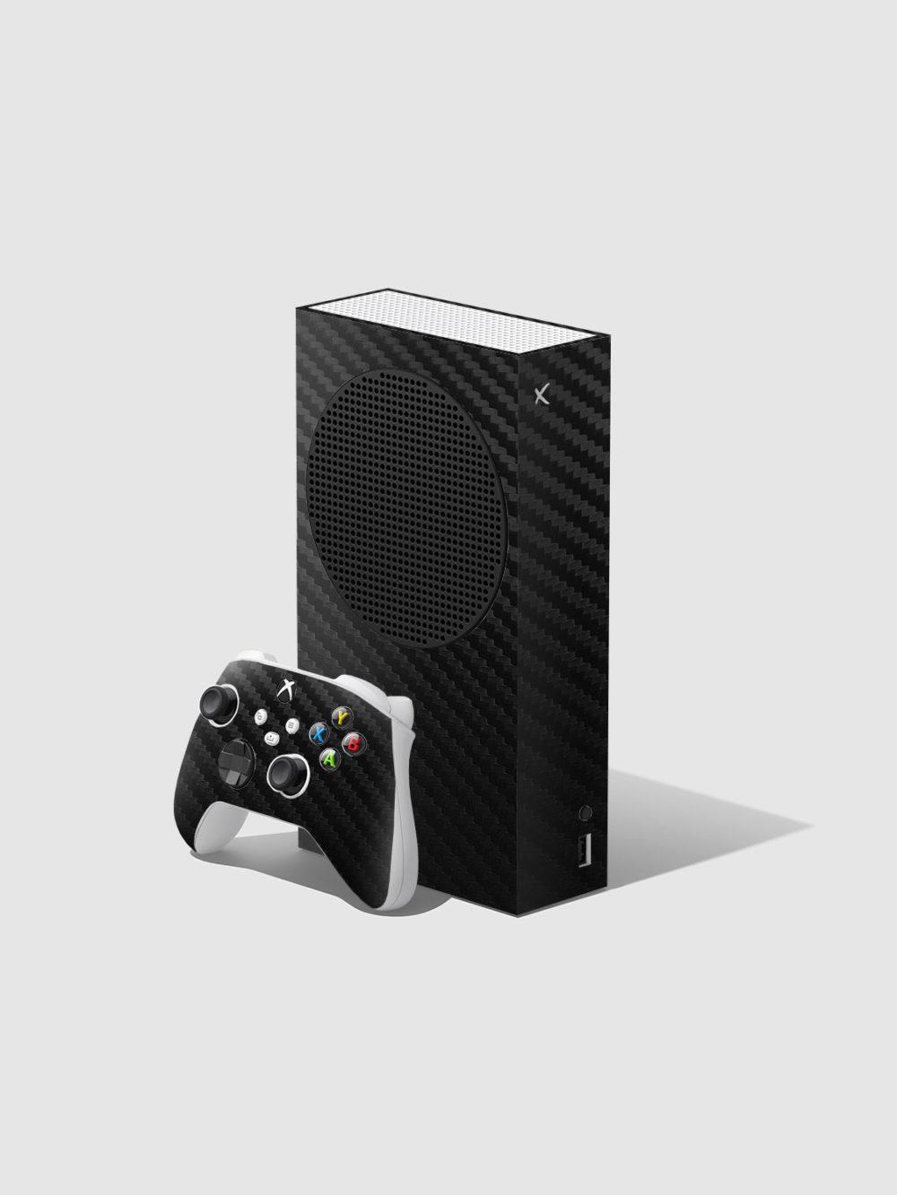 Black Carbon Fibre Xbox Series S Console and Controller Skin Wrap