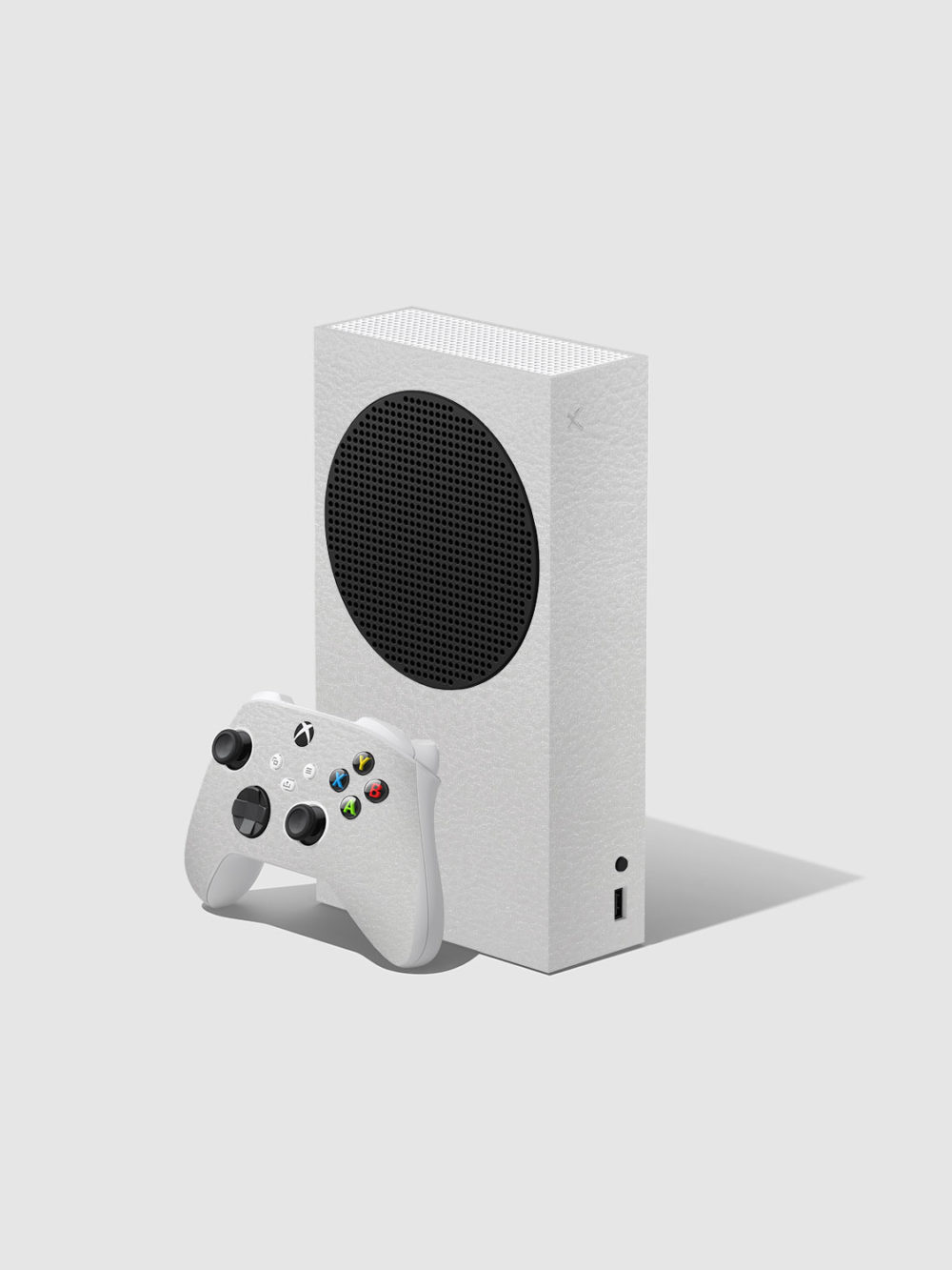 White Leather Xbox Series S Console and Controller Skin Wrap
